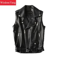 Sheepskin Genuine Leather Womens Vest Biker Jackets Outerwear Waistcoat Overcoat Black Tops Gothic Jacket Coats Korean Clothes