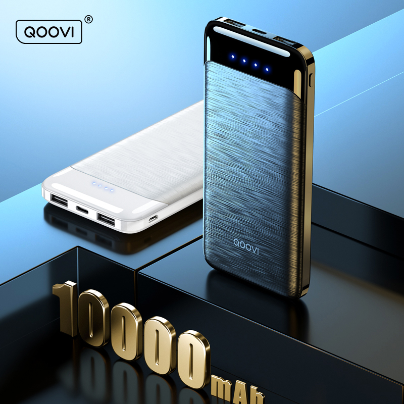 QOOVI – chargeur Portable Ultra-fin 10000 mAh, batterie externe 10000 mAh, pour iPhone 12 Xiaomi Sumsang Huawei