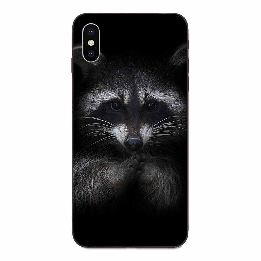 For Galaxy A8 A9 Star Note 4 8 9 10 S3 S4 S5 S6 S7 S8 S9 S10 Edge Lite Plus Pro G313 Lovely Raccoon Art Print Lovely