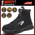 Sapatas do pé de aço sapatos de segurança homens sapatos de trabalho respirável botas de trabalho segurança sapatos de dedo do pé de aço sapatos de segurança indestrutíveis