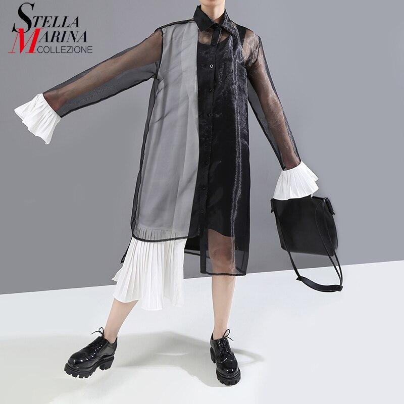 New 2019 Korean Style Women Black Mesh Shirt Dress Long Flare Sleeve Sheer Ladies Stylish Long Stylish Dress Party Clubwear 5880