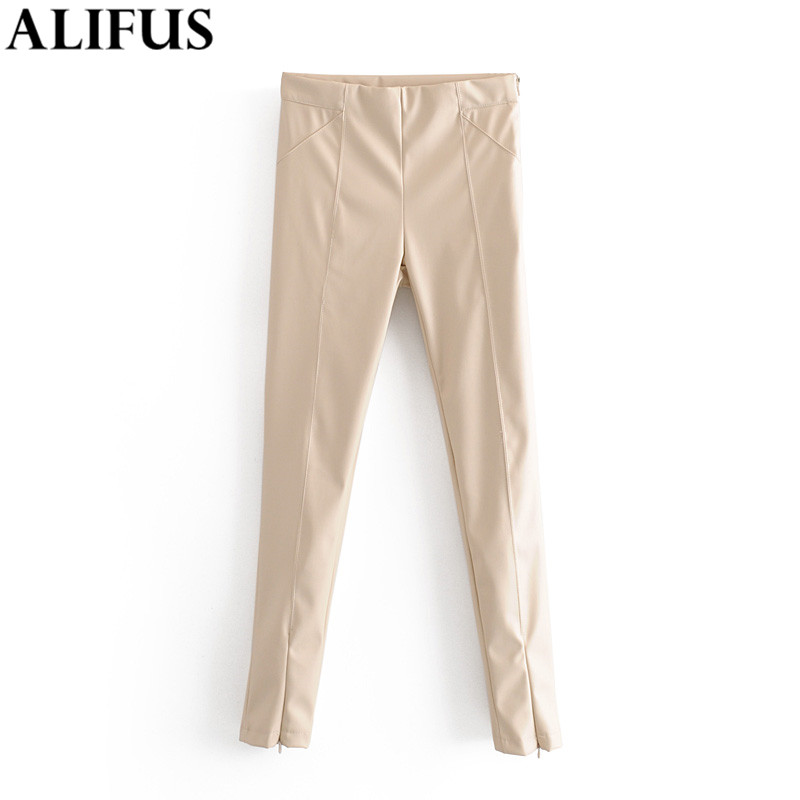 Fashion Za Women Pant 2019 Skinny PU Leather Pants Female Elastic Waist Stretchy Slim Fit Elegant Casual Trousers Pantalones