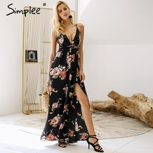 Simplee Backless v neck boho summer dress women Chiffon lace up beach maxi dress 2018 Floral print chic long dress vestidos(China)