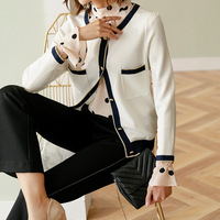 New Commuting fashion cardigan women s nine Quarter Sleeve loose knit short Casual Short Coat White