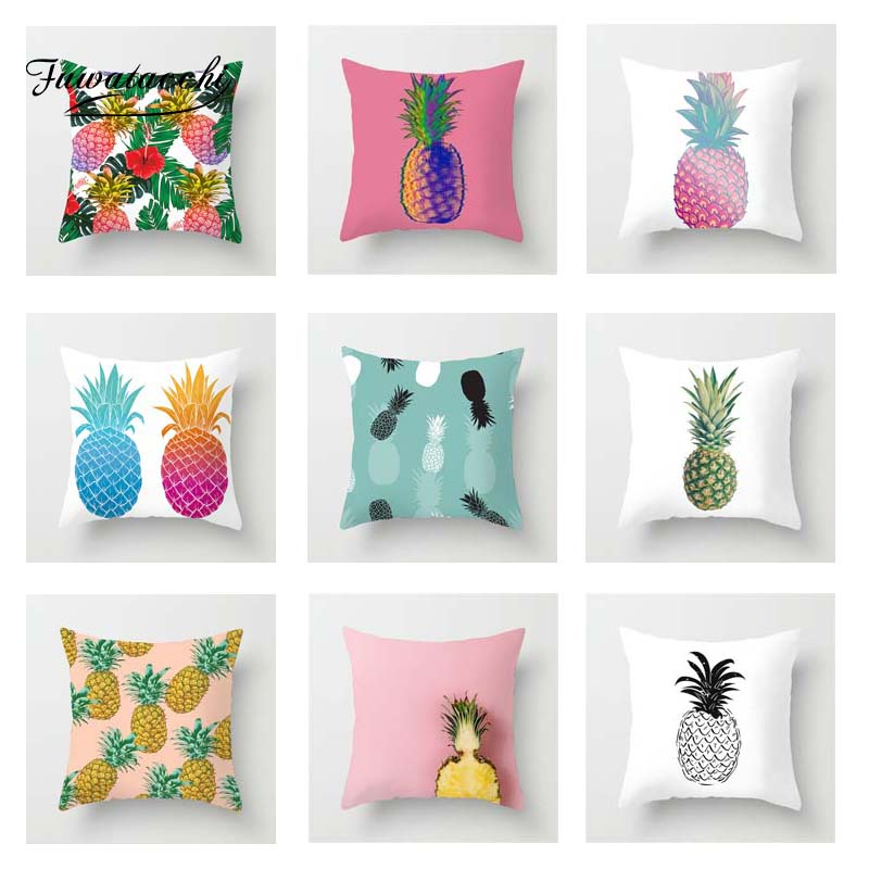 Fuwatacchi Multi-Color Pineapple Cushion Cover Fruit Style Pillowcase Decor Home Sofa Chair Car Decoration  Pillow Covers