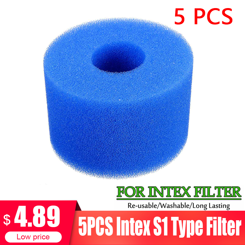 5PCS Swimming Pool Filter Foam Reusable Washable Sponge Cartridge Suitable Bubble Jetted Pure SPA For Intex S1 Type Pool Filter