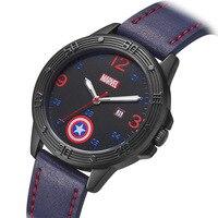 Disney Marvel mens wristwatches Captain America quartz leather waterproof fashion boys watches