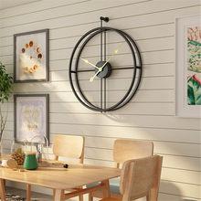 Metal lron grande relógio de parede decoração do escritório luxo minimalista industrial mudo nordic pendurado relógio decoração para casa design moderno