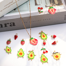 10pcs Alloy Drop Oil Fruit Charm Pandent Strawberry Cherry Charms Earring Pendant Bracelet Charm For Jewelry Making Accessories