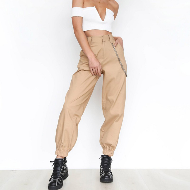 Women Personality Sports Casual Pants Harem Pants  Mid Waist Elastic Loose Straight Long Pants Female Trouser Pantalones Mujer