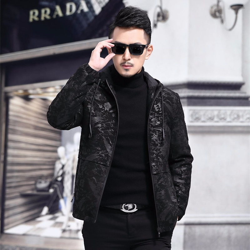 2020 Men's Genuine Leather Jacket Hooded 100% Sheepskin Coat Mens Print Leather Jackets Chaqueta Cuero Hombre 1802 YY442