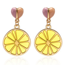 Creative Love Resin Lemon Slice Earrings Big Geometric Drop Earring 2019 Brincos Female Fashion Jewelry Gift for Party and Best Friend(China)