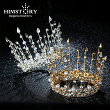 Himstory Crystal Pearl Tiara Wedding Crown Hairwear Bride Hair Accessories Round Princess Bridal Headband
