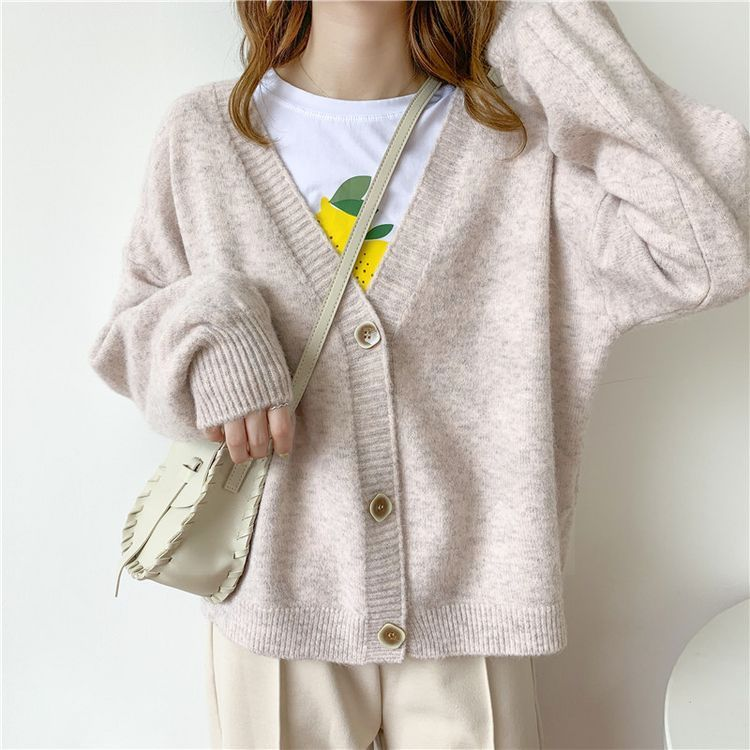 Clearance SaleSweater Cardigans Poncho Chic-Tops Oversize Knit Autumn Korean Mujer V-Neck Winter Women