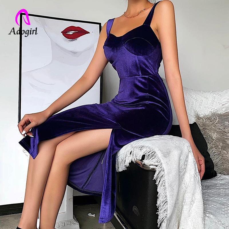 Purple Velvet Spaghetti Strap Bodycon Dress 2020 Spring Sexy Split Skinny Solid Soft Backless Elegant Club Party Dress Vestidos