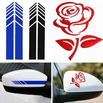 3D Reflective Car Sticker Auto Rear View Mirror Decals And Stickers Arrow Rose Eyes Wing Car Styling Sticker For Car Accessories image