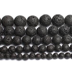 Natural Stone Black Lava Volcanic Stone Round Loose Beads 4/6/8/10/12MM Fit Diy Charm Beads For Jewellery Making Accessories 15'(China)