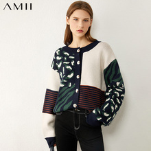 Amii Minimalism Autumn Winter Fashion Sweaters For Women Causal Onck Printed Loose Women's Sweater Women's sweater 12040603