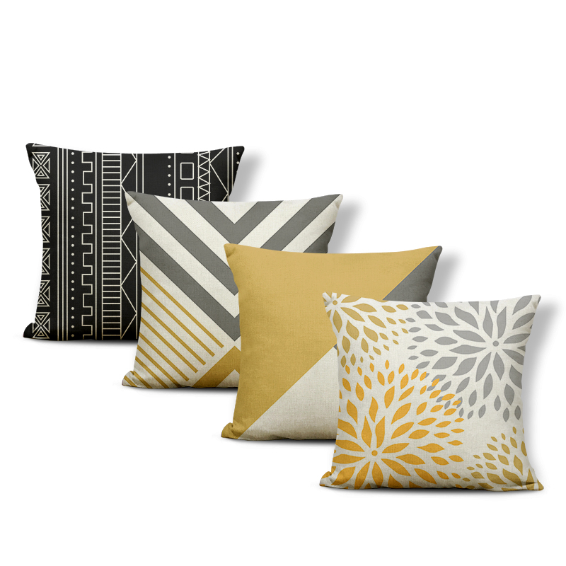 Personalized Geometry Throw Pillow Line Yellow Leaves Diamond Shape Bedroom Pillow Decoration Sofa Polyester Linen Cushion Cover Geometry Cushion Pillows Case Pillowcushion Case Aliexpress