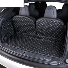 lsrtw2017 for tesla model x luxury fiber leather car trunk mat 2015 2016 2017 2018 2019 2020 cargo liner rug carpet accessories