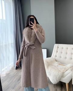 Image 2 - OFTBUY 2020 kış ceket kadınlar gerçek kürk ceket doğal Fox kürk yaka kaşmir yün karışımları uzun giyim kemer bayanlar Streetwear