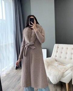 Image 2 - OFTBUY 2020 เสื้อแจ็คเก็ตสตรีฤดูหนาวขนสัตว์จริงขนสุนัขจิ้งจอกธรรมชาติ COLLAR CASHMERE ผสมผ้าขนสัตว์ยาว Outerwear เข็มขัดสุภาพสตรี Streetwear