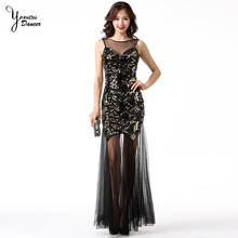 New Modern Dancing Dress for Banquet Party Fashion Retro Sequined Sleeveless Sexy Black Evening