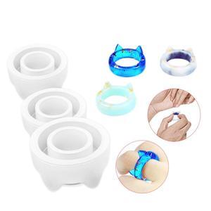 3 шт./лот, кавайные кольца в форме кошачьих ушей, силиконовая форма из смолы, Diy, Ювелирное кольцо, Очаровательная форма для изготовления укра...