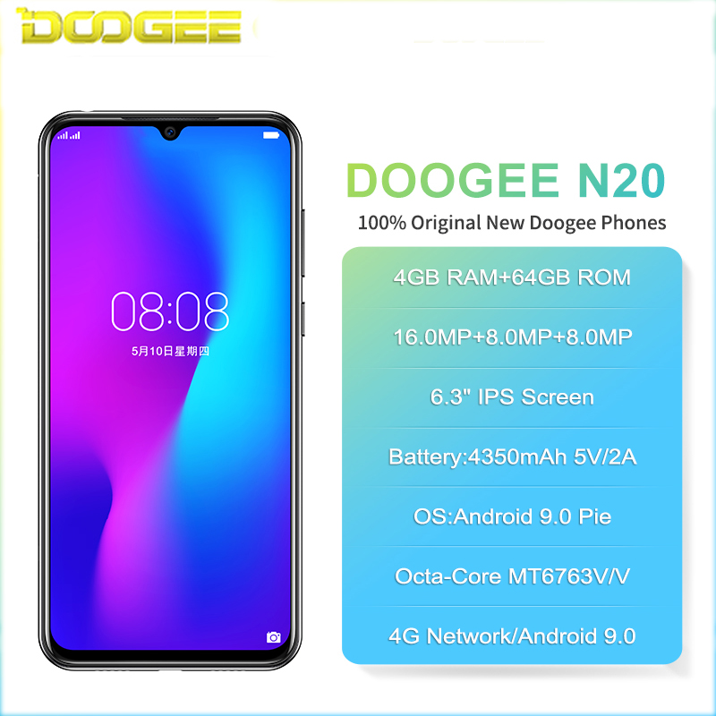 Doogee N20 4G Smartphone 6,3 Pantalla de gota de agua teléfono móvil 4GB + 64GB Octa Core 16MP Triple cámaras traseras 4350mAh 10w carga rápida - 2