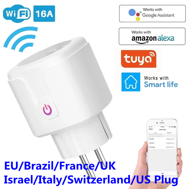 WiFi Smart Plug 16A EU Brazil Socket Wireless Remote Voice Control Power Energy Monitor Outlet Timer Works for Alexa Google Home 1