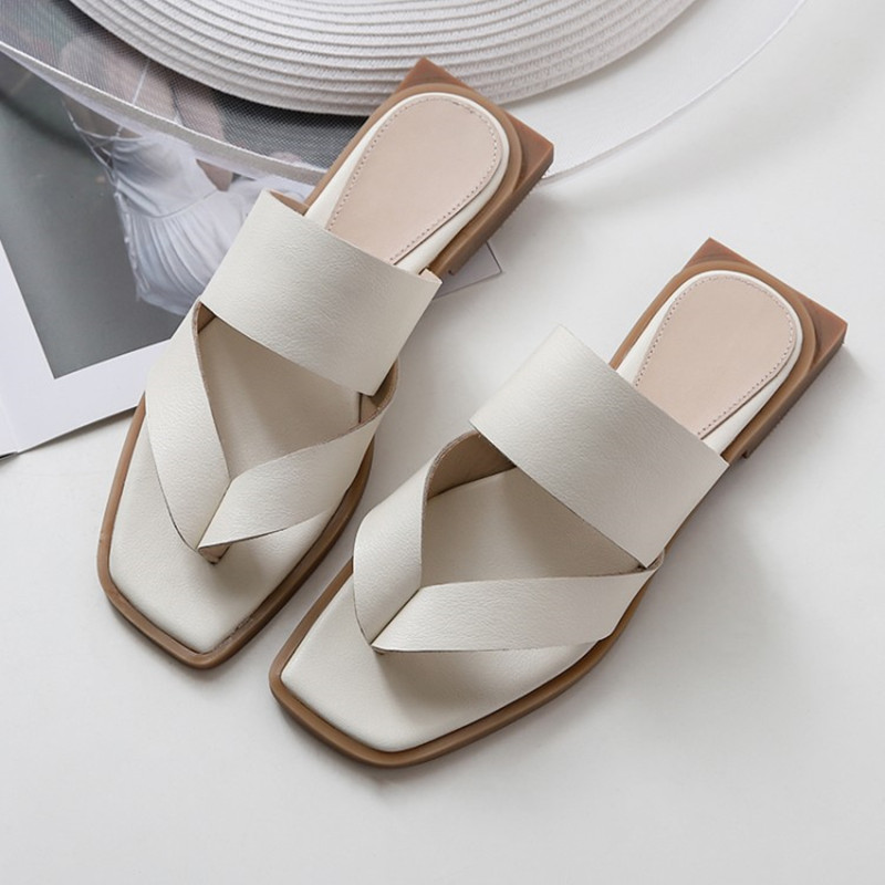 100% Cow Leather Flats Women Slippers 2019 New Summer Flip-flop Shoes Woman Sandals Party Casual Mules Shoes Woman
