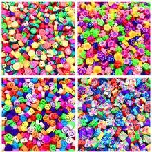 Grânulos misturados do espaçador da argila do polímero da cor para a jóia que faz diy 30 pces 10mm fruit/smiley/impressão animal grânulos da argila do polímero