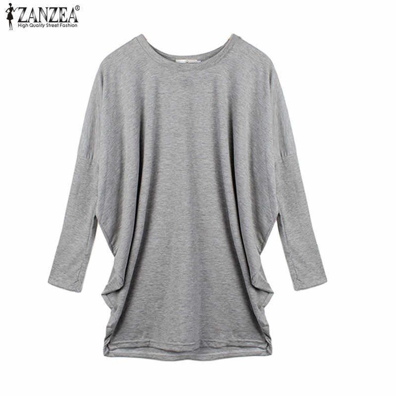 ZANZEA ผู้หญิงเสื้อฤดูใบไม้ผลิแขนยาวเสื้อแฟชั่น 2020 Casual หลวมไม่สมมาตรเสื้อยาว Blusas Femme Vestidos 5XL