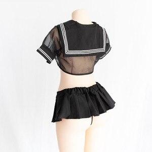Image 5 - סקסי קוספליי תלבושות תלמיד סיילור עם שחור וורוד צבע אחיד Kwaii שקוף לוליטה למעלה חצאית תחתונים ארוטי Roleplay