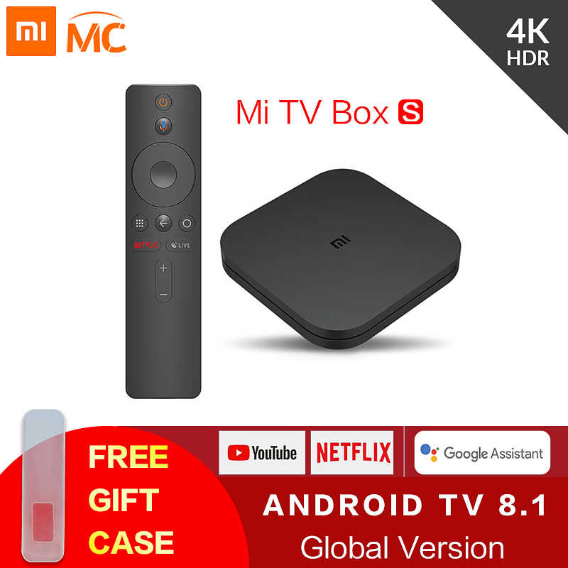 Original global xiao mi caixa de tv s 4 k hdr android tv 8.1 ultra hd 2g 8g wifi google elenco netflix iptv conjunto caixa superior 4 media player