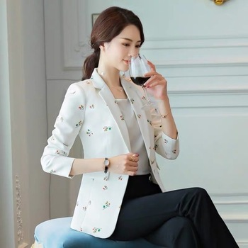 2020 New Korean Versatile Women White Floral Printed Blazer Outerwear Long Sleeve Casual Single Button Notched Office Lady women notched flare sleeve plaid print blazer short casual basic work single button office business blazer outwear british style