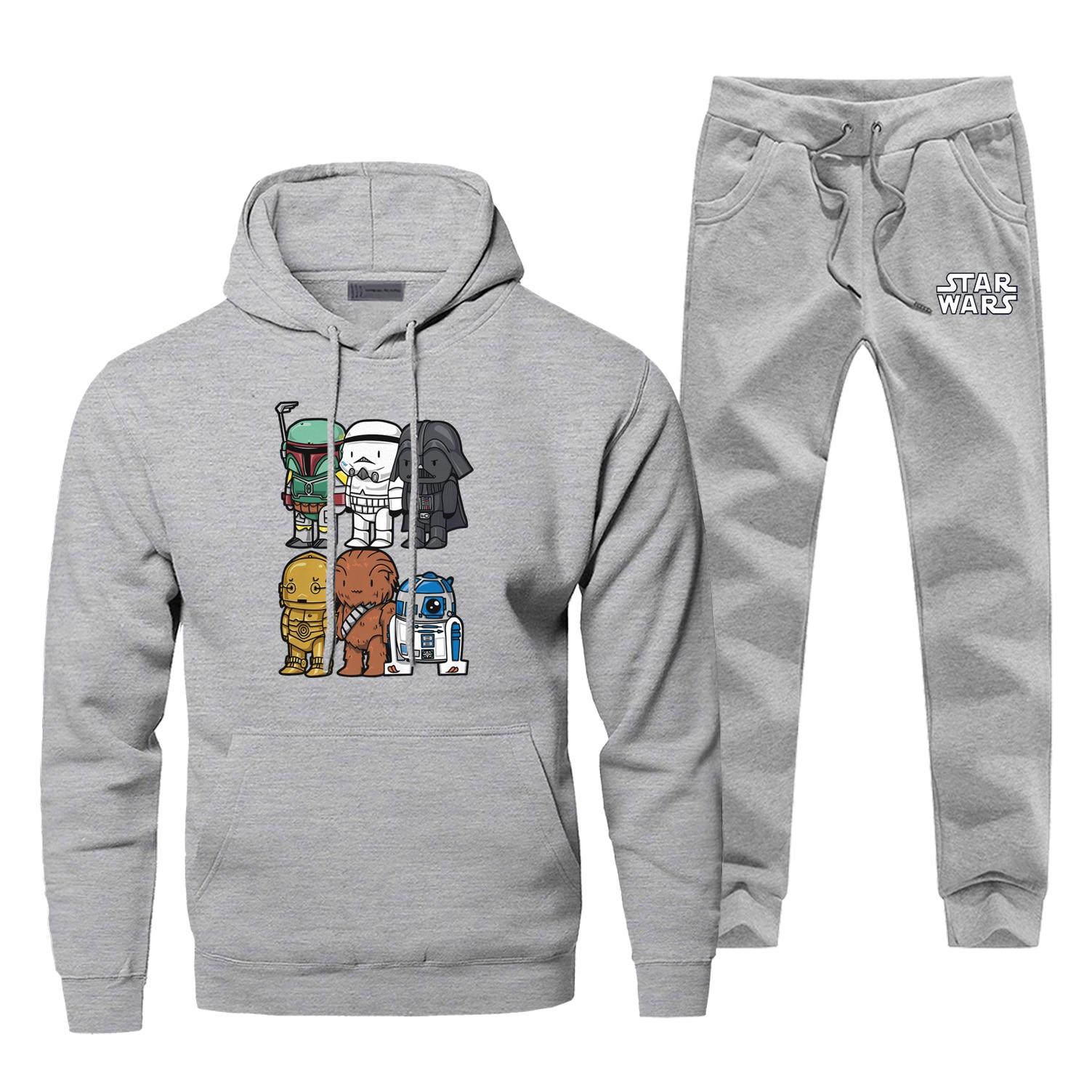 Hoodie Pants Set Star Wars Men Sweatshirt Darth Vader Male Hoodies Sweatshirts Mens Sets Two Piece Pant Pullover Cartoon Coat