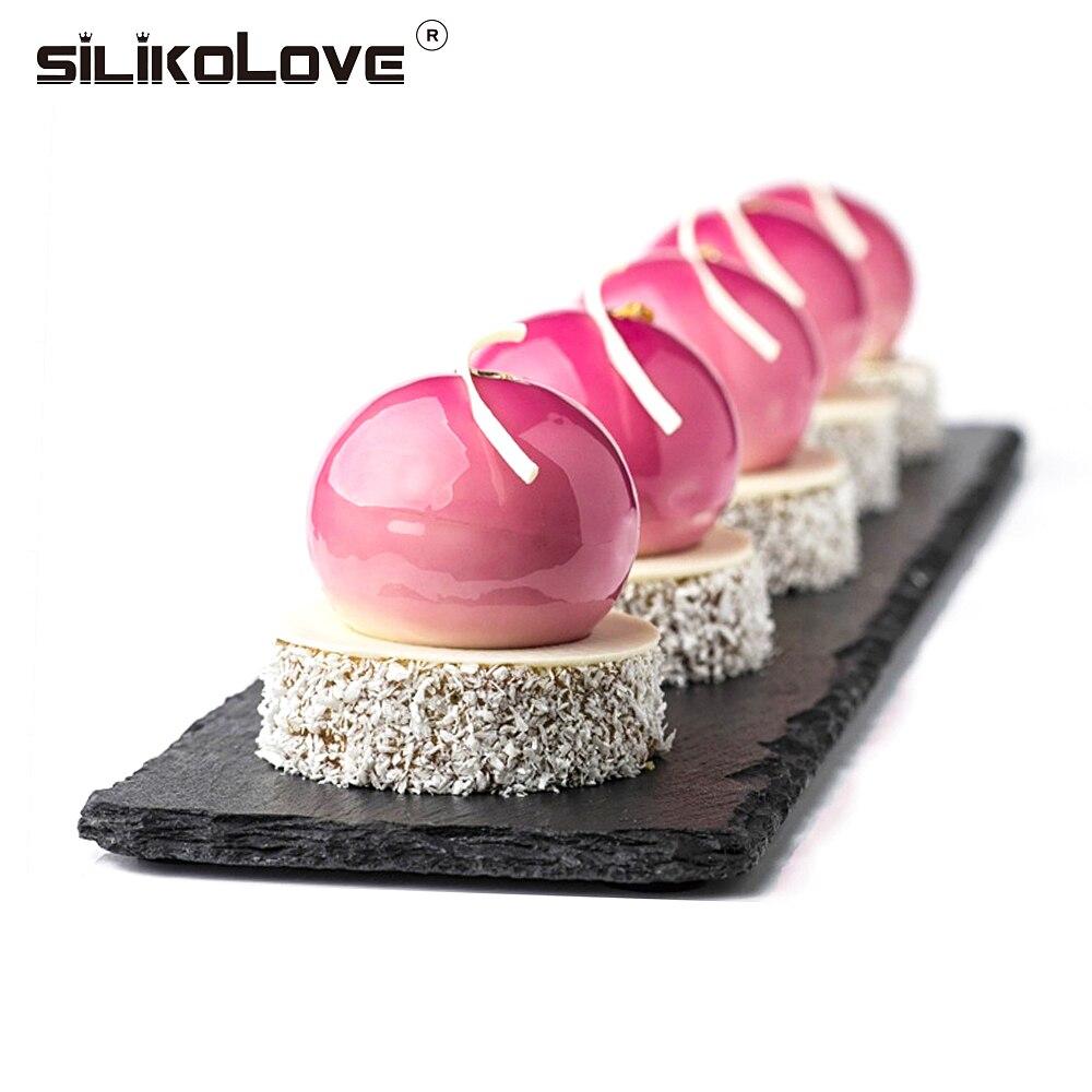 SILIKOLOVE silikon kek kalıbı pişirme aksesuarları yuvarlak top Mousse kalıp silikon Bakeware ev mutfak Sugarcraft tatlı araçları