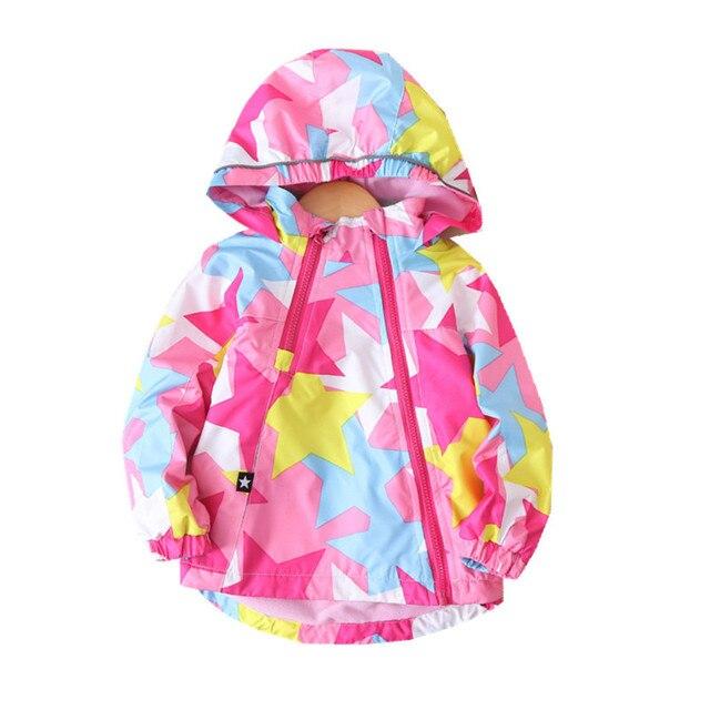 موضة مقاوم للماء الطفل معطف دافئ الصوف مقنعين الطفل بنات جاكيتات الخماسي طباعة الأطفال ملابس خارجية الاطفال وتتسابق ل 90 150 سنتيمتر