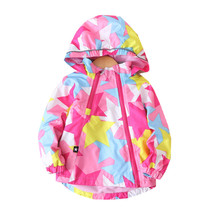 패션 방수 아동 코트 따뜻한 양 털 후드 아기 여자 자 켓 Pentagram 인쇄 어린이 겉옷 아이 90 150 cm에 대 한 의상