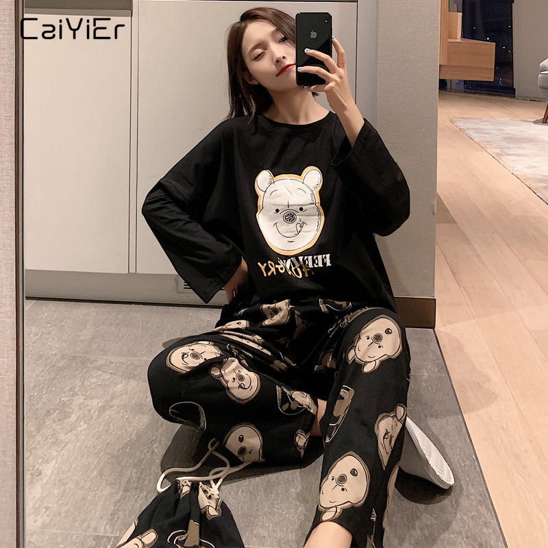 Caiyier Black Cute Bear Print Pajamas Set Fashion Autumn Winter Thin Sleepwear With Hop-pocket 3pcs Nightgown Loose Home Suits