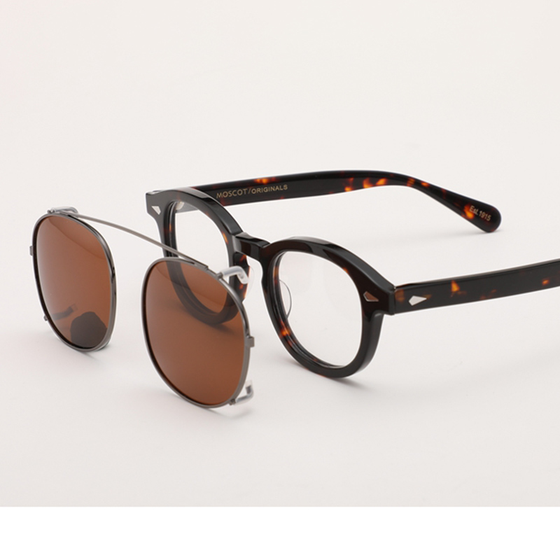 Lunettes de soleil à Clip pour hommes et femmes | Lunettes de soleil Johnny Depp avec monture en acétate, lunettes de soleil Vintage de marque de qualité supérieure 003
