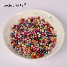 Lucia crafts, 4 мм, 500 шт./лот, разноцветные Круглые бусины с имитацией жемчуга, аксессуары для изготовления своими руками, E0813