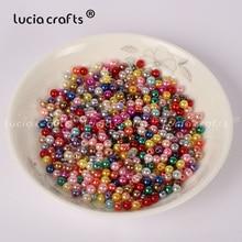 Artesanías de Luciana 4mm 500 unids/lote colores mezclados perlas redondas perlas sueltas accesorios para hacer bricolaje E0813