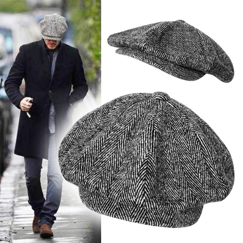 Wool Newsboy Caps Men Grey Herringbone Flat Caps Women Coffee British Painters Hat Autumn Winter Caps And Hats