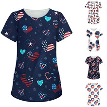 Printing-Bag Blouse Short-Sleeve Working-Clothing Nurse-Tops O-Neck Heart-Print