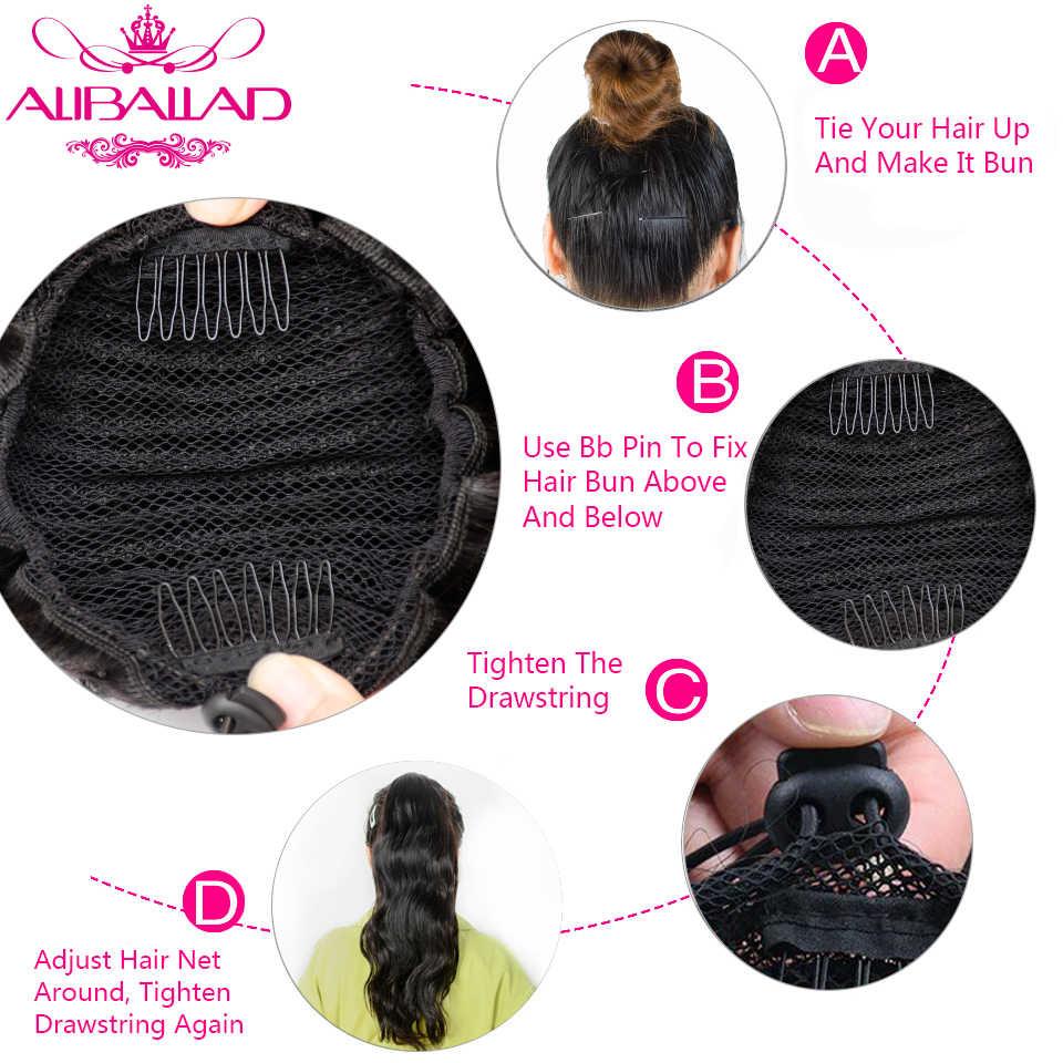 Extensiones de cabello humano de cola de caballo con cordón para el cuerpo