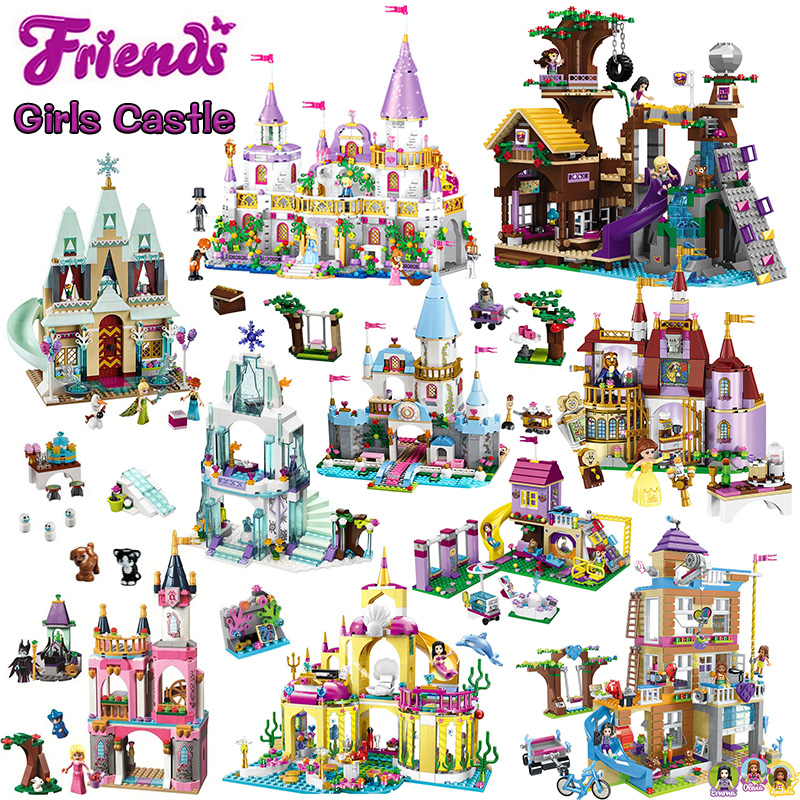 Girls Series Compatible ING Elsa Anna ICE Princess Castle Building Blocks Friends for Girls Bricks Figures Toys for Children