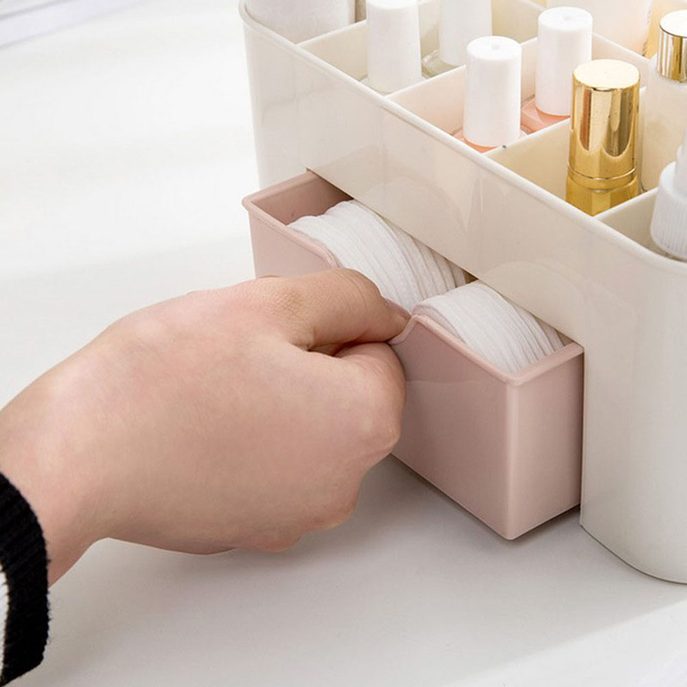 High Quality Plastic Makeup Organizer for Storage of Cosmetics and Makeup Brushes with Compartments and Drawer 4