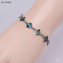 Vintage natural shell bracelet / Four-leaf clover love chain